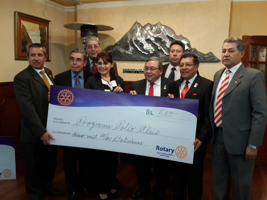 Donacion de Rotary Club Chuquiago Marka a La Fundacion Rotaria Fondo PolioPlus