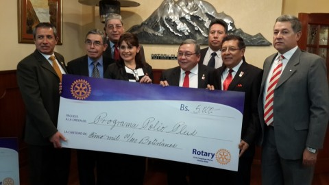 Donacion para Polio Plus de Rotary Club Chuquiago Marka