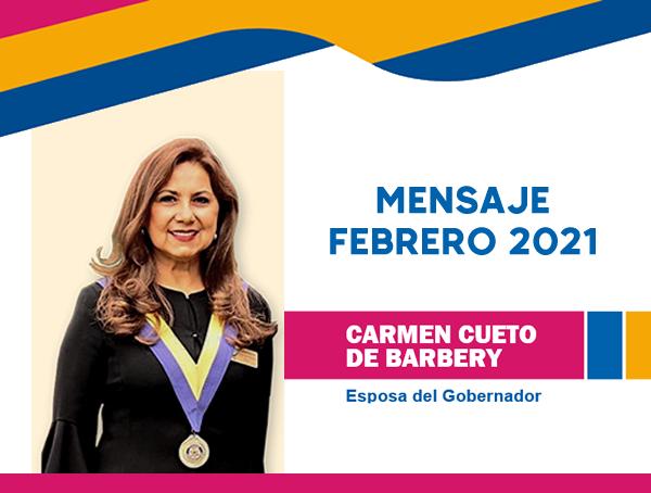 Febrero 2021: Mensaje Esposa del Gobernador 2020-2021
